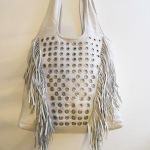 NEW, ASH Lambskin White Leather Tote Handbag